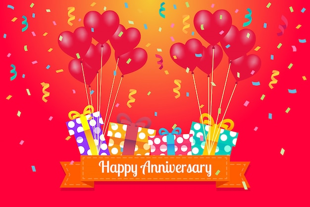 Happy anniversary greeting card with heart balloons