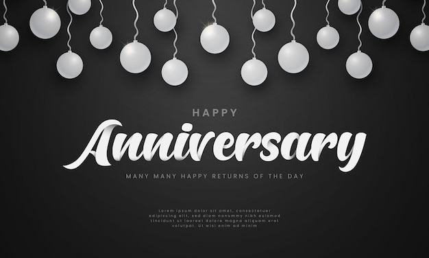 Happy anniversary hand drawn lettering typography logo with silver ball
