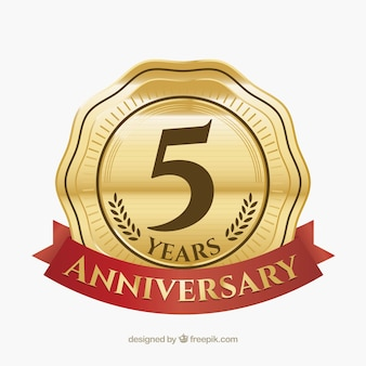 Happy anniversary label in golden style
