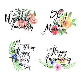 Happy anniversary logo collection with watercolor floral