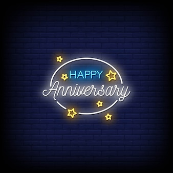 Happy anniversary neon signs style text