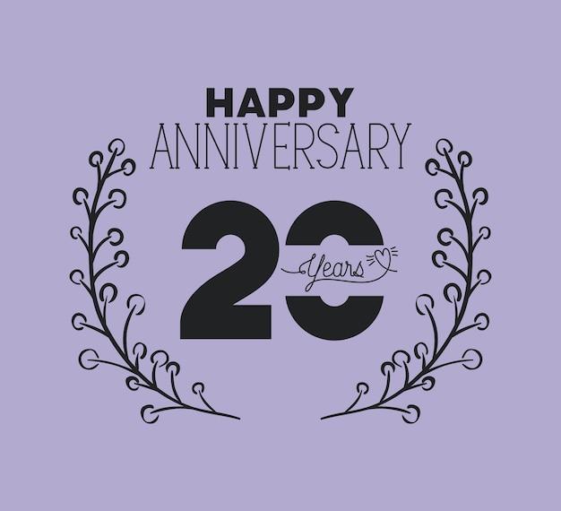 Happy anniversary number twenty with wreath crown