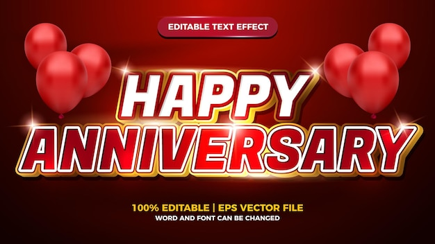 Happy anniversary red white luxury editable text effect 3d