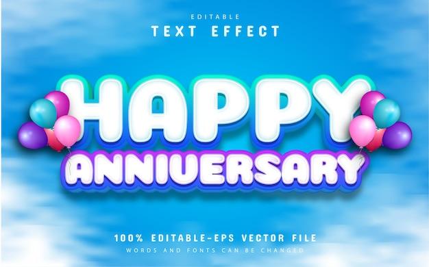 Happy anniversary text effect editable