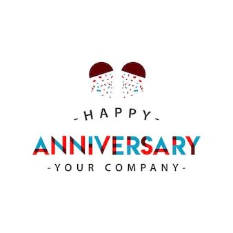 Happy anniversary vector template design illustration