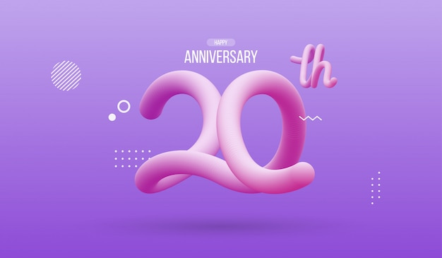 Happy anniversary with abstract flowing fluid number