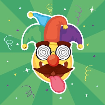 Happy april fools day illustration with emoji and crazy mask