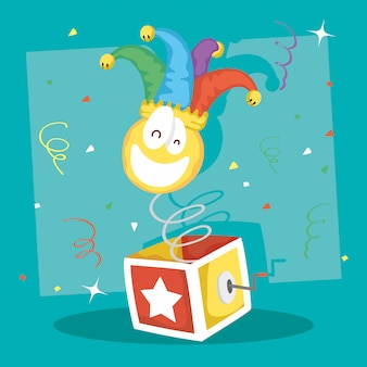Happy april fools day illustration with surprise box and crazy emoji