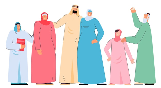Happy arab cartoon family in traditional clothes