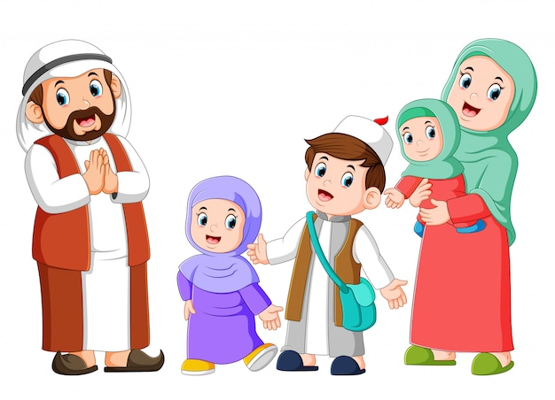 Happy arab family couple with children