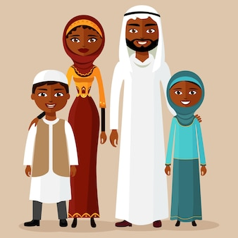 Happy arab family in national clothes