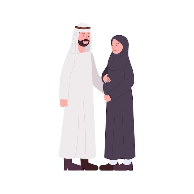 임신 한 아내와 함께 행복한 아라비안 커플