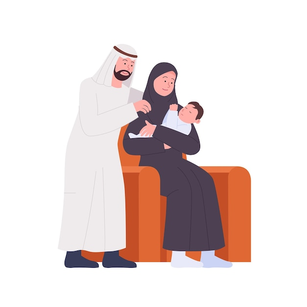 幸せなアラビアの家族の父と母は生まれたばかりの赤ちゃんを見る
