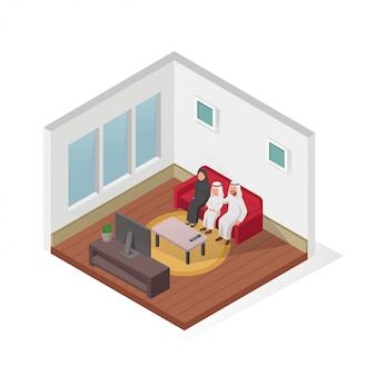 Happy arabian family watching tv together isometric