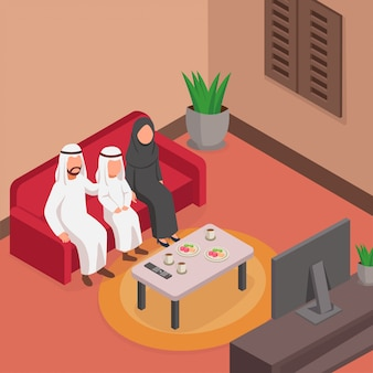 Happy arabian family watching tv together on sofa isometric