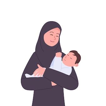 生まれたばかりの赤ちゃんを抱いて幸せなアラビアの母