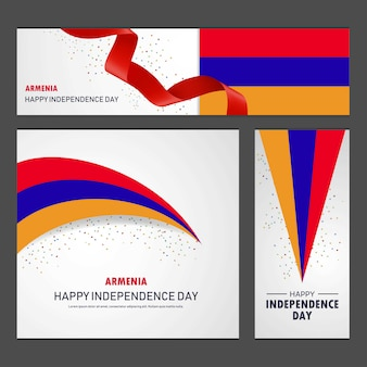 Happy armenia independence day banner and background set
