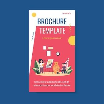 Happy artistic school students brochure template