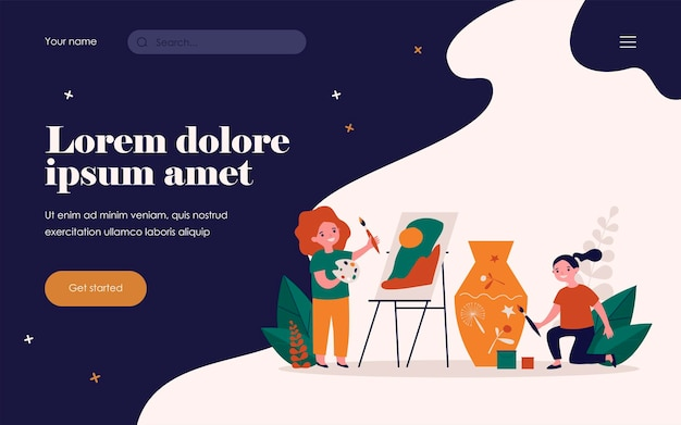 Happy artistic school students. kids painting picture and decorating clay vase flat vector illustration. drawing studio, workshop concept for banner, website design or landing web page