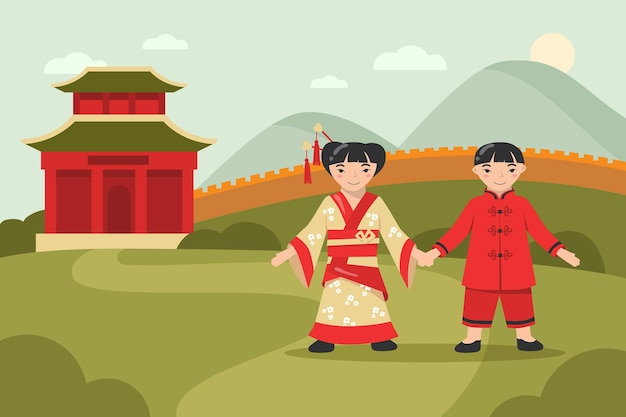 Felice ragazzo asiatico e una ragazza in abiti tradizionali che camminano insieme