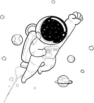 Happy astronaut doodle