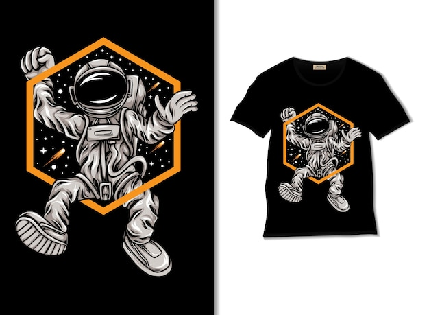Tシャツのデザインと幸せな宇宙飛行士のイラスト