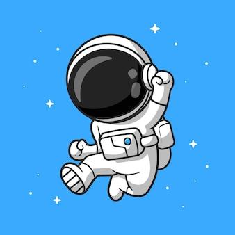 幸せな宇宙飛行士ジャンプ漫画ベクトルアイコンイラスト。科学技術アイコンコンセプト分離プレミアムベクトル。フラット漫画スタイル