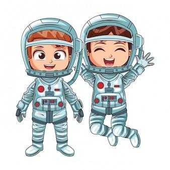 Happy astronaut kids
