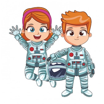 Happy astronaut kids