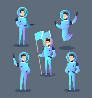 宇宙服とヘルメットの幸せな宇宙飛行士がジャンプ、立っている、旗を保持している漫画スタイル
