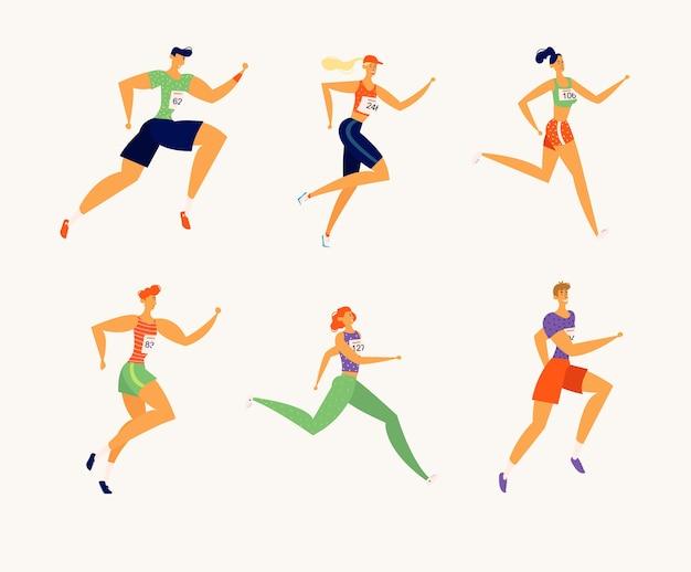 マラソンを実行している幸せなアスリートの人々のキャラクター