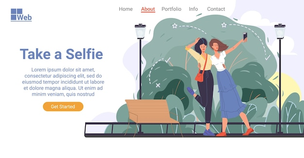 幸せな魅力的な女性の友人のカジュアルなキャラクターは、モバイルカメラで自画像を取ります。都市公園で屋外の陽気な女の子。自分撮り文化、ソーシャルネットワーク、ブログ、vlog、人気。ランディングページのデザイン