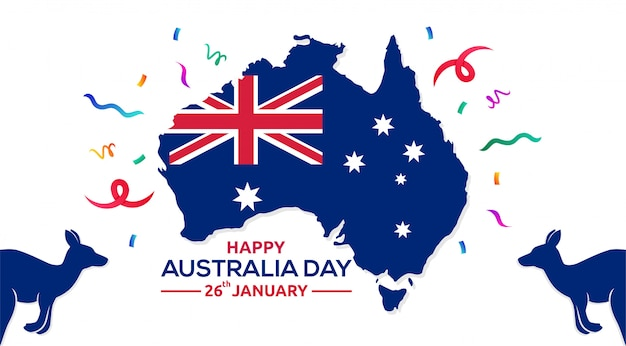 Happy australia day 26th january map of australia vector illustration