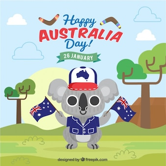 Happy australia day background with beautiful koala