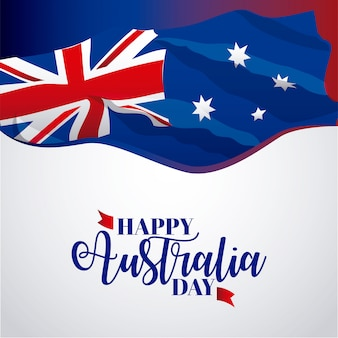Happy australia day banner on gray, flag  illustration