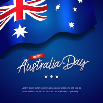 Happy australia day celebration poster or banner background with flag