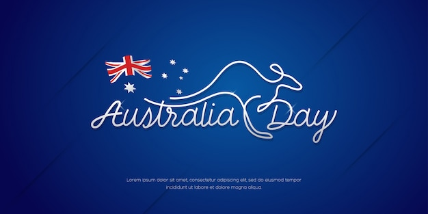 Happy australia day celebration poster, minimal banner background