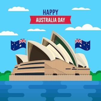 Celebrazione felice giorno australia con bandiera