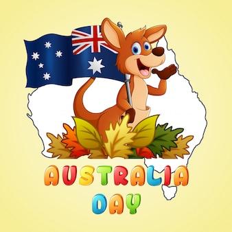 Happy australia day kangaroo holding a flag on map background