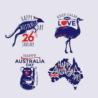 Happy australia day label collection