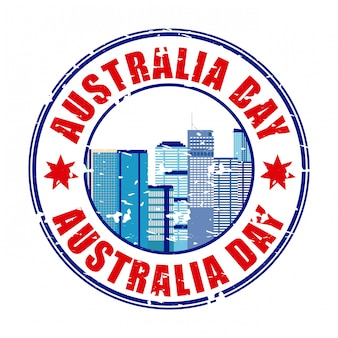 Happy australia day label with skyline