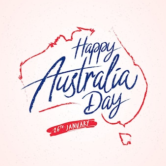 Happy australia day lettering style