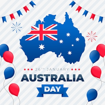 Happy australia day lettering with balloons