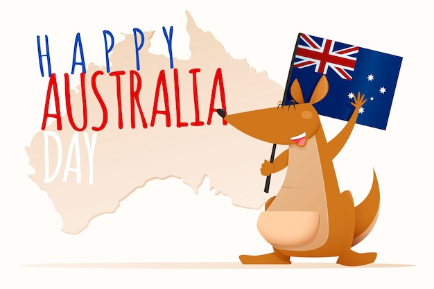 Happy australia day lettering with cute kangaroo