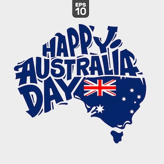 Happy australia day lettering with flag and map of australia
