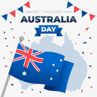 Happy australia day lettering with flag