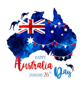 Happy australia day lettering.