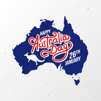 Happy australia day map banner poster greeting card vector