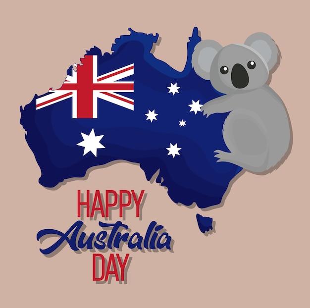 オーストラリアのhappy australia day map
