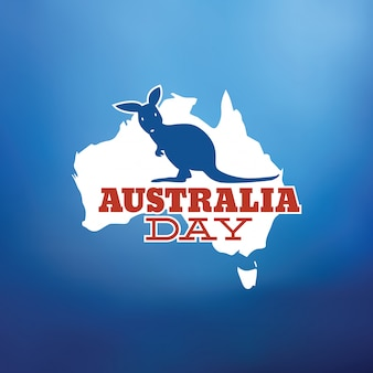 Happy australia day typographic vector design with kangaroo
